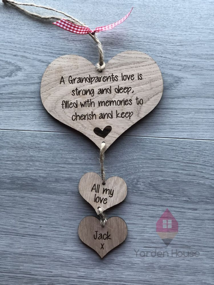 Grandparents love hanging hearts